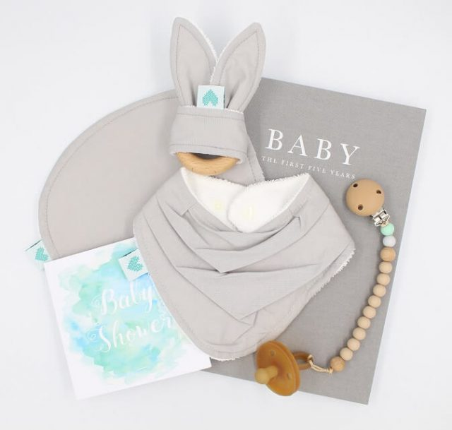 luxury baby shower present grey colour handmade in Perth