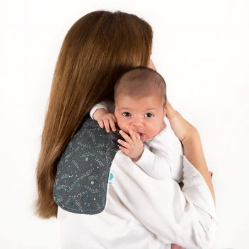 space burping cloth with mum and baby