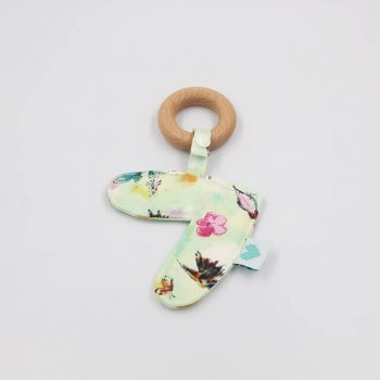 teether for infants in birds print
