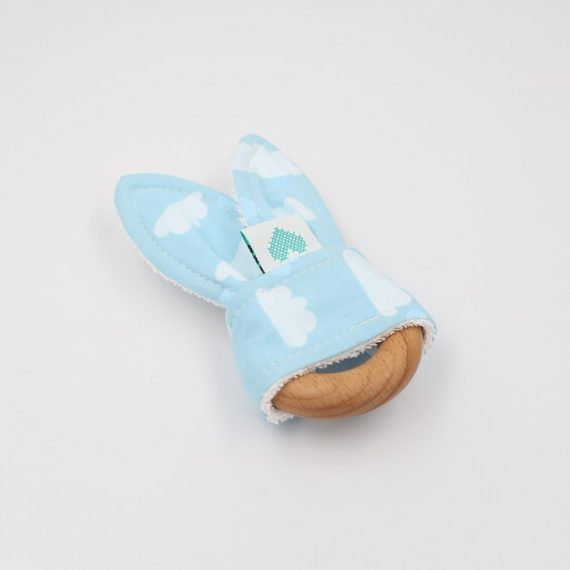 Bunny Teething Ring Clouds Front