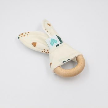 bunny teething ring dinosaurs front