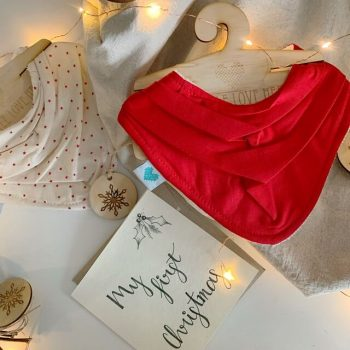 Christmas Stars and red bandana bib