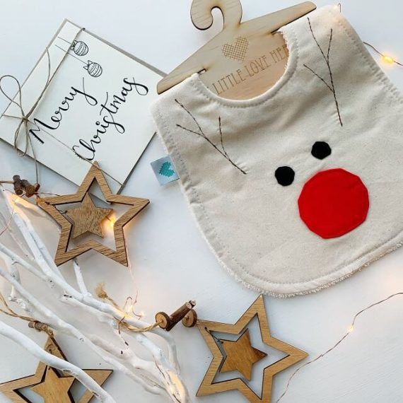 Merry Christmas card with Rudolph bib