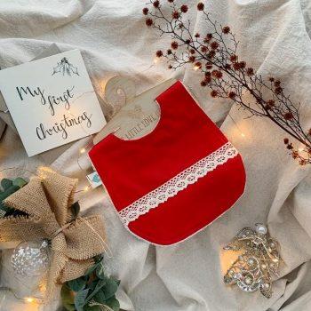 Red boho Christmas bib with my first Christmas card