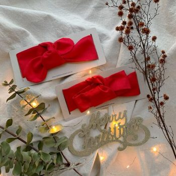 Mummy and baby red Christmas top knot hair accessory