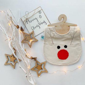 Rudolph Christmas bib with Merry Christmas card
